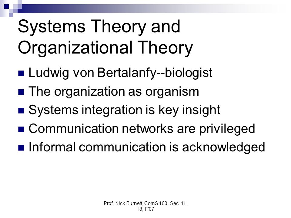 Systems Theory and Organizational Theory