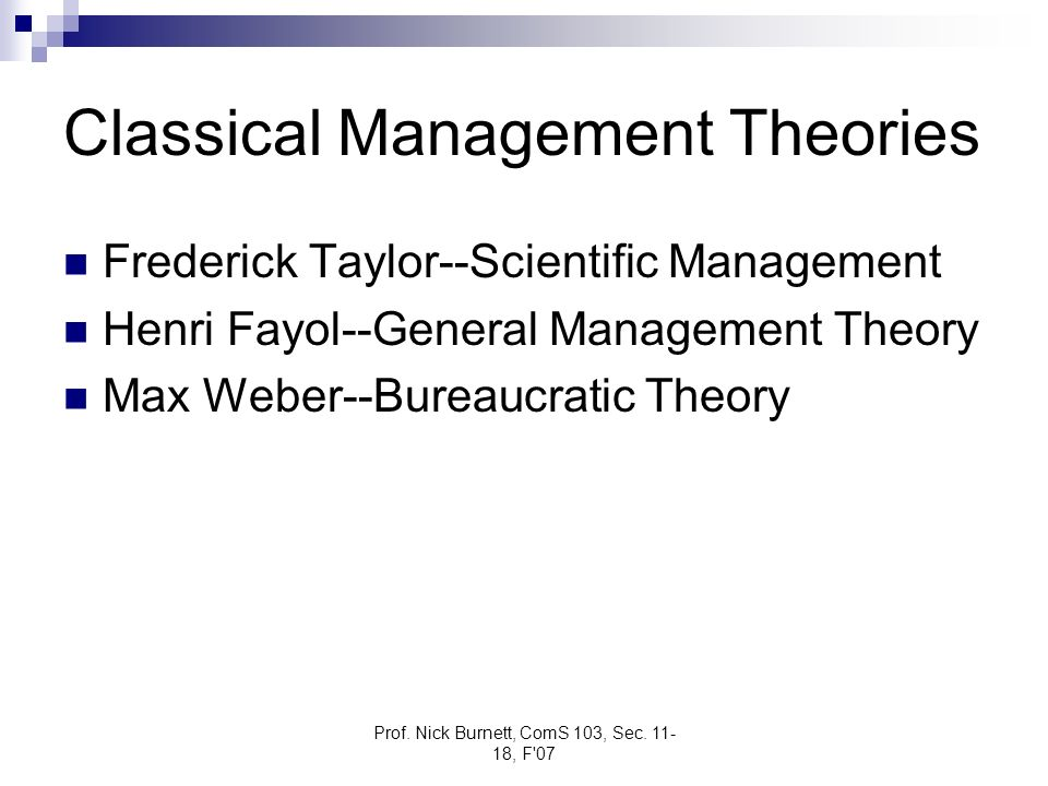 Classical Management Theories