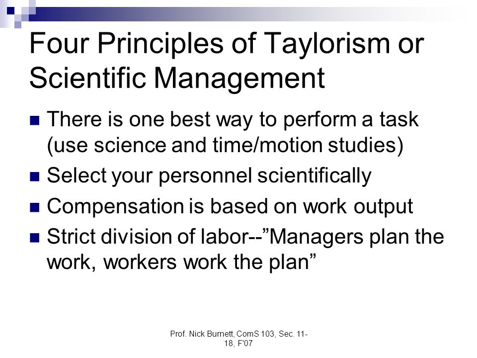 Four Principles of Taylorism or Scientific Management
