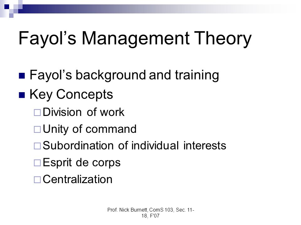 Fayol's Management Theory
