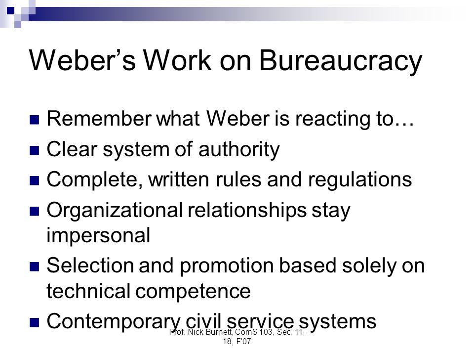 Weber's Work on Bureaucracy