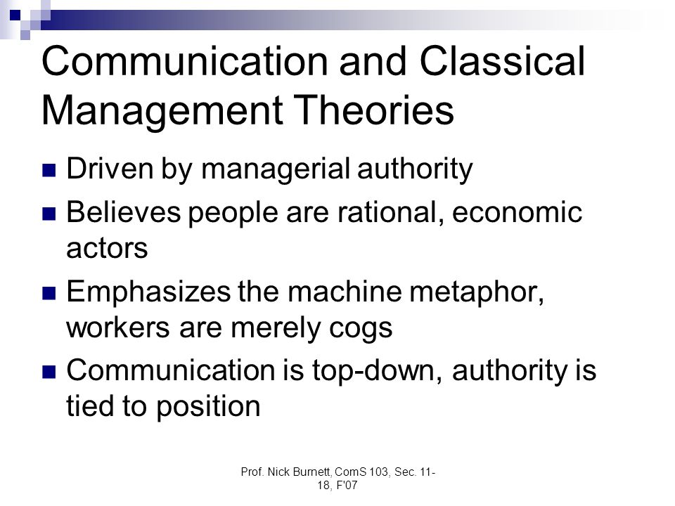 Communication and Classical Management Theories
