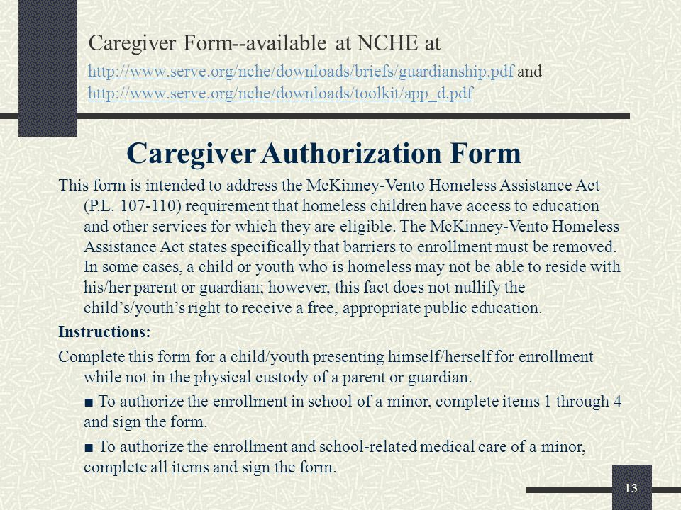 Caregiver Authorization Form