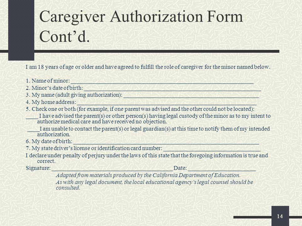 Caregiver Authorization Form Cont'd.