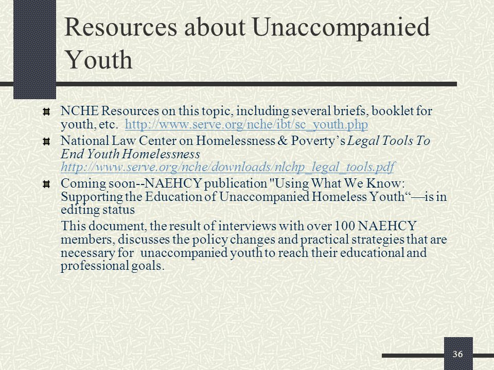 Resources about Unaccompanied Youth