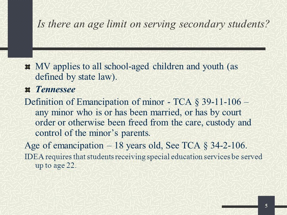 Is there an age limit on serving secondary students