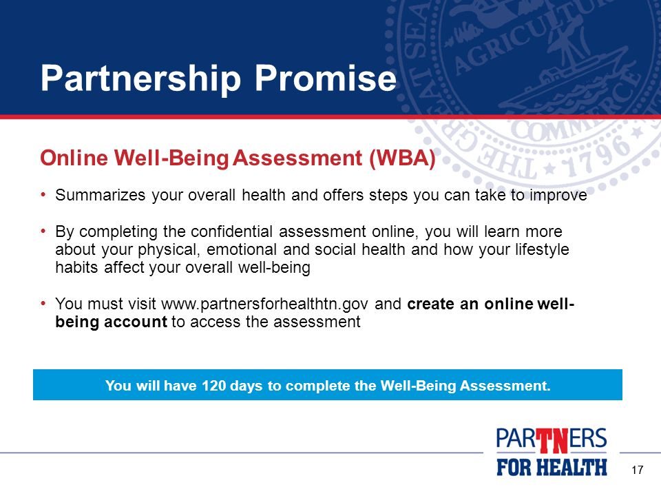 You will have 120 days to complete the Well-Being Assessment.