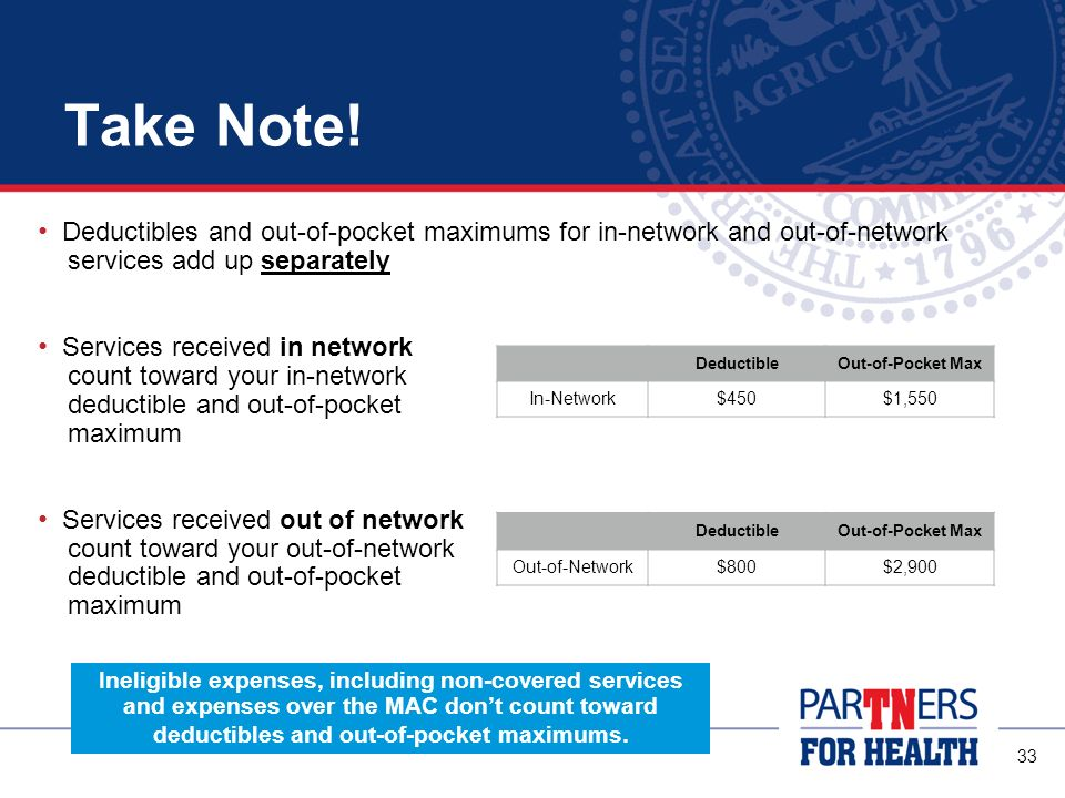 Take Note! Deductibles and out-of-pocket maximums for in-network and out-of-network. services add up separately.