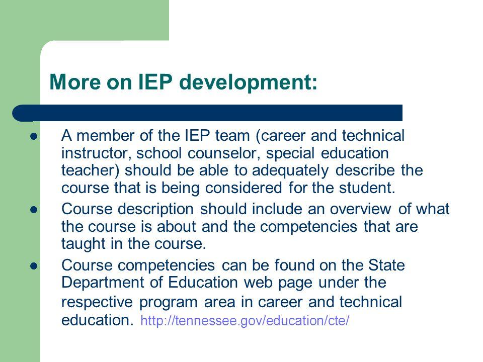 More on IEP development: