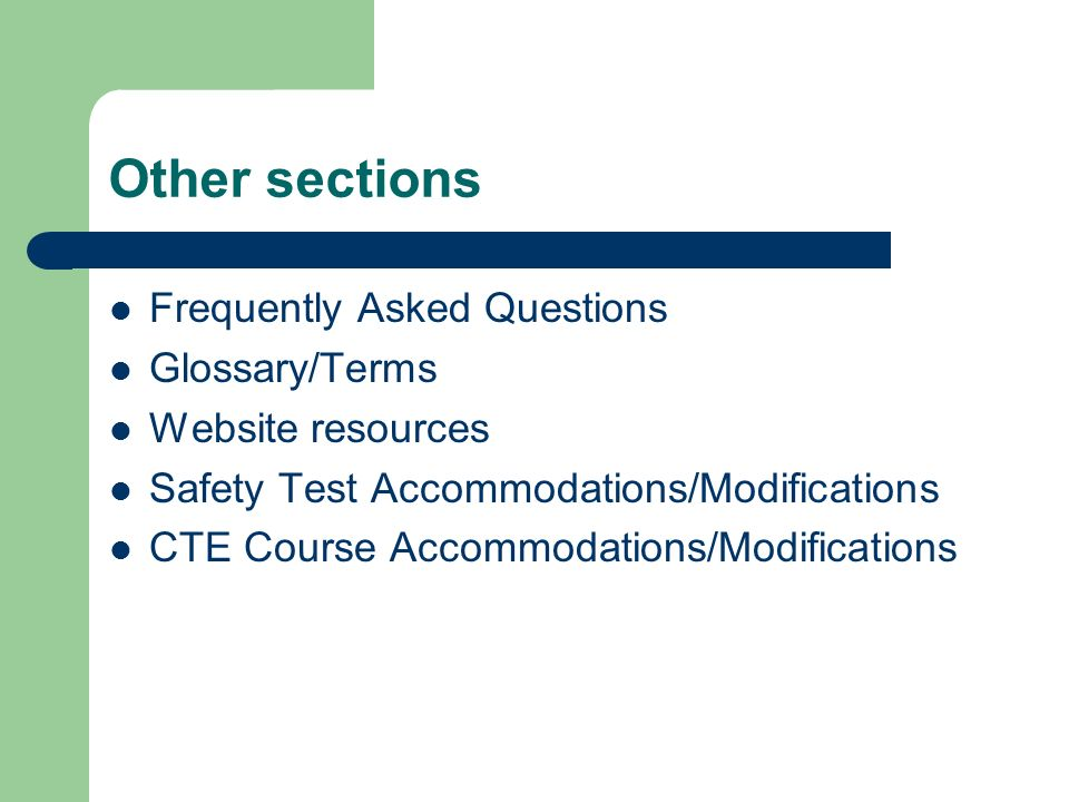 Other sections Frequently Asked Questions Glossary/Terms