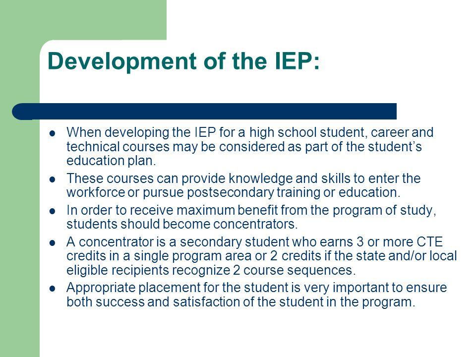 Development of the IEP: