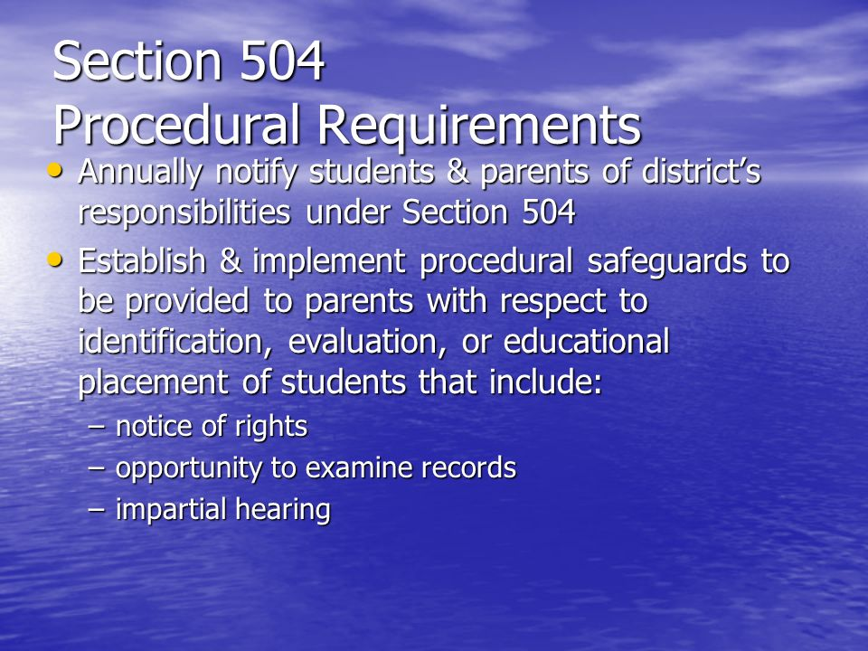 Section 504 Procedural Requirements