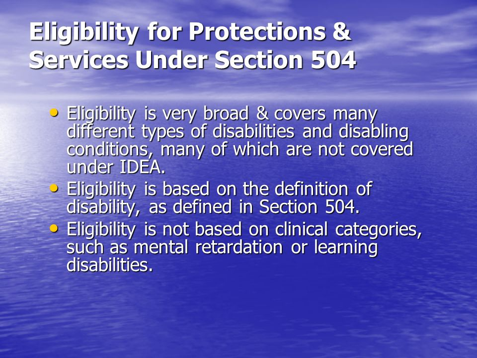 Eligibility for Protections & Services Under Section 504