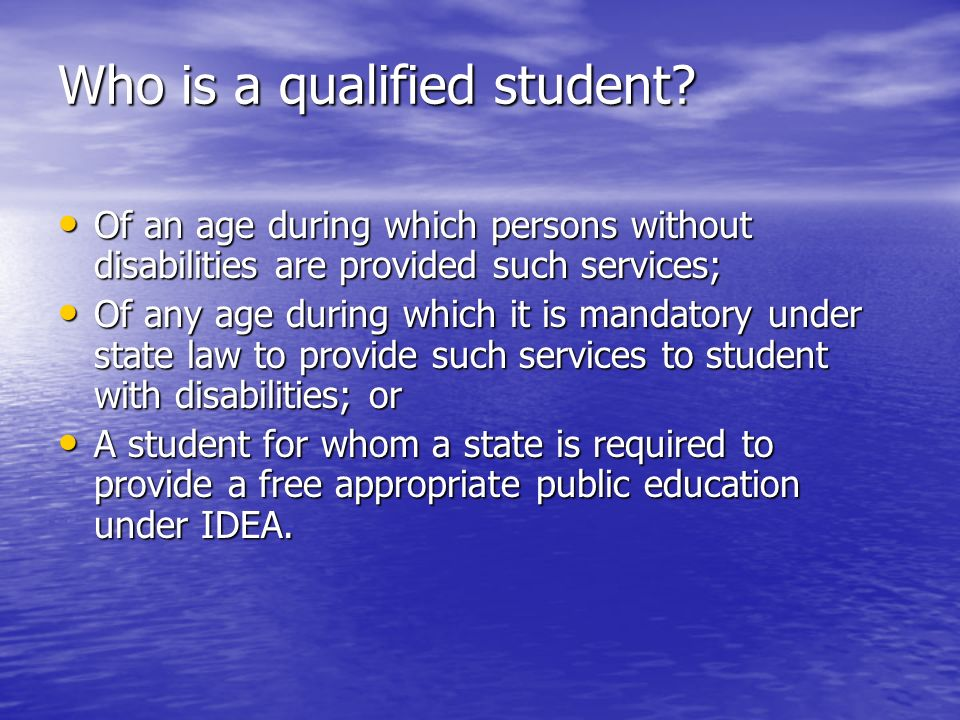 Who is a qualified student