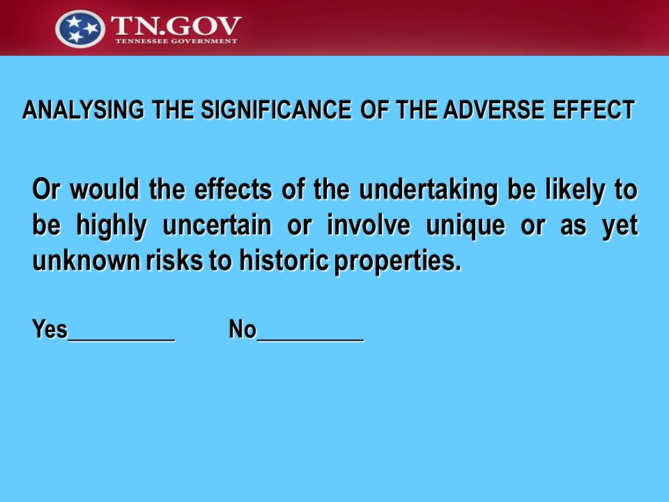 ANALYSING THE SIGNIFICANCE OF THE ADVERSE EFFECT