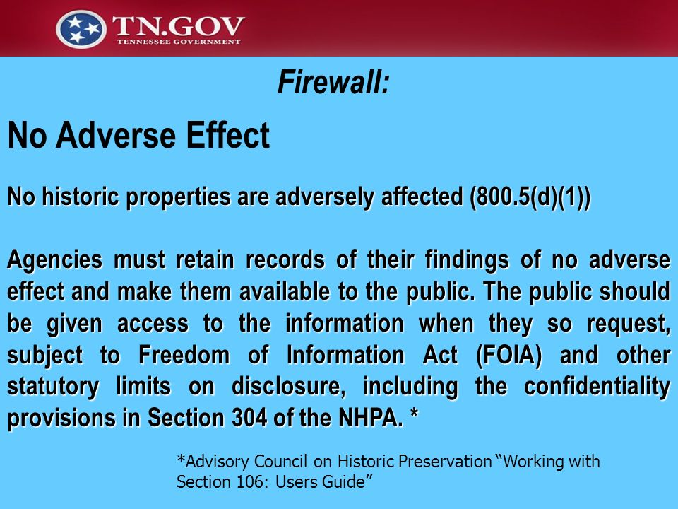 No Adverse Effect Firewall: