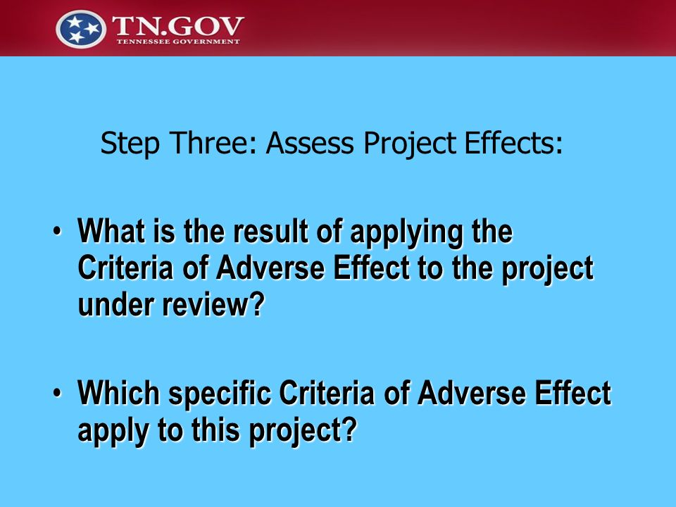 Which specific Criteria of Adverse Effect apply to this project