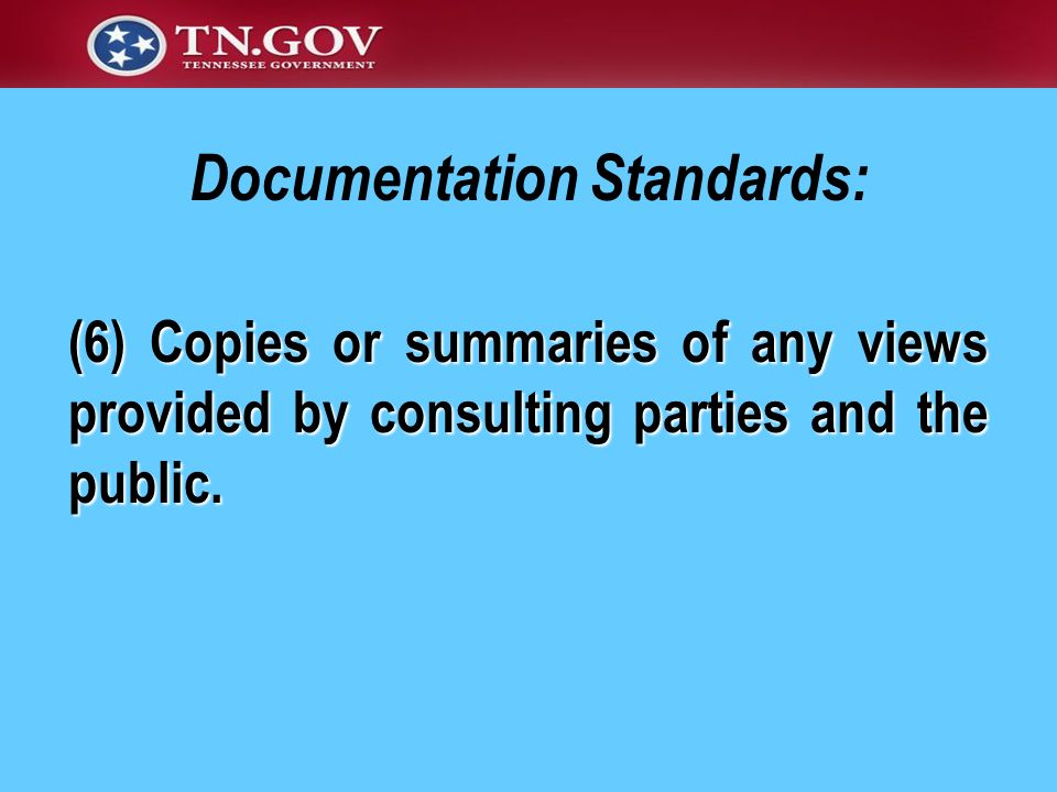 Documentation Standards: