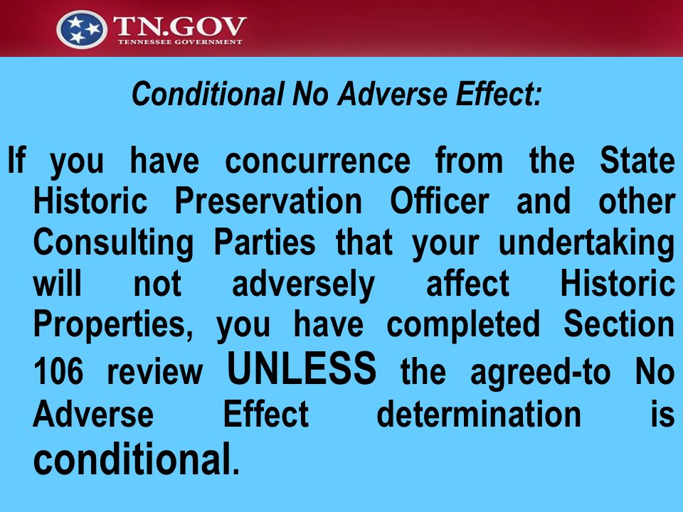 Conditional No Adverse Effect: