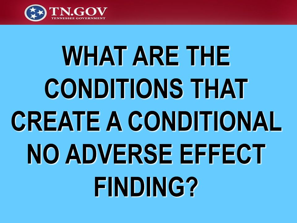 WHAT ARE THE CONDITIONS THAT CREATE A CONDITIONAL NO ADVERSE EFFECT FINDING