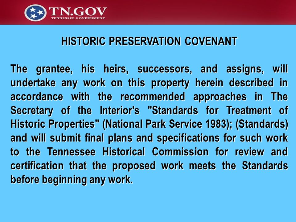 HISTORIC PRESERVATION COVENANT
