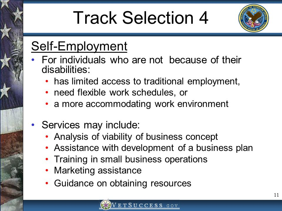 Track Selection 4 Self-Employment