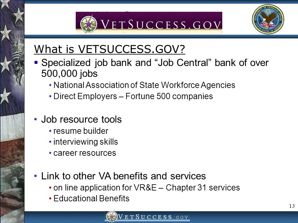 VetSuccess.gov What is VETSUCCESS.GOV