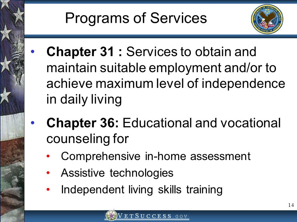 Programs of Services Chapter 31 : Services to obtain and maintain suitable employment and/or to achieve maximum level of independence in daily living.