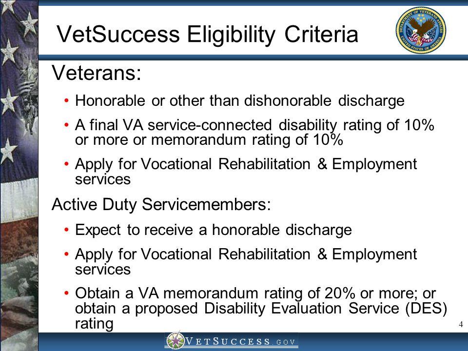 VetSuccess Eligibility Criteria