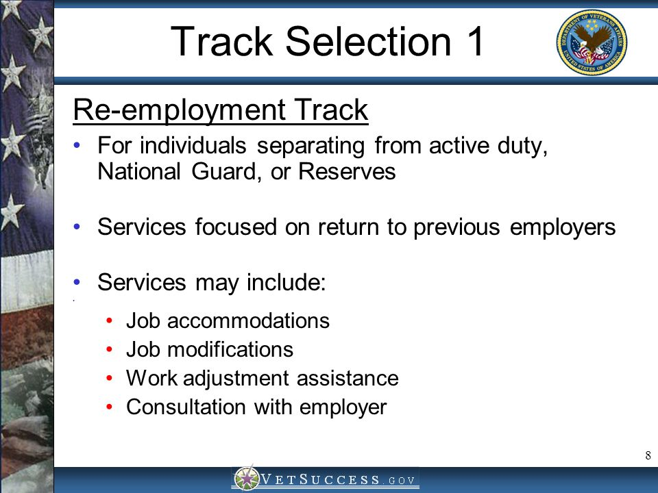 Track Selection 1 Re-employment Track
