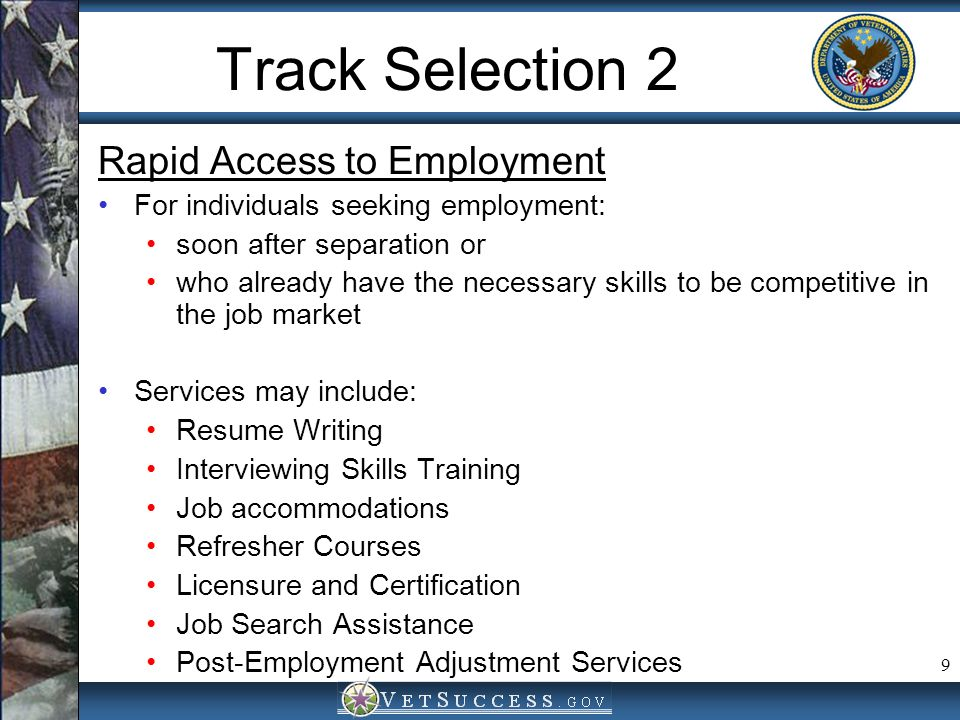 Track Selection 2 Rapid Access to Employment