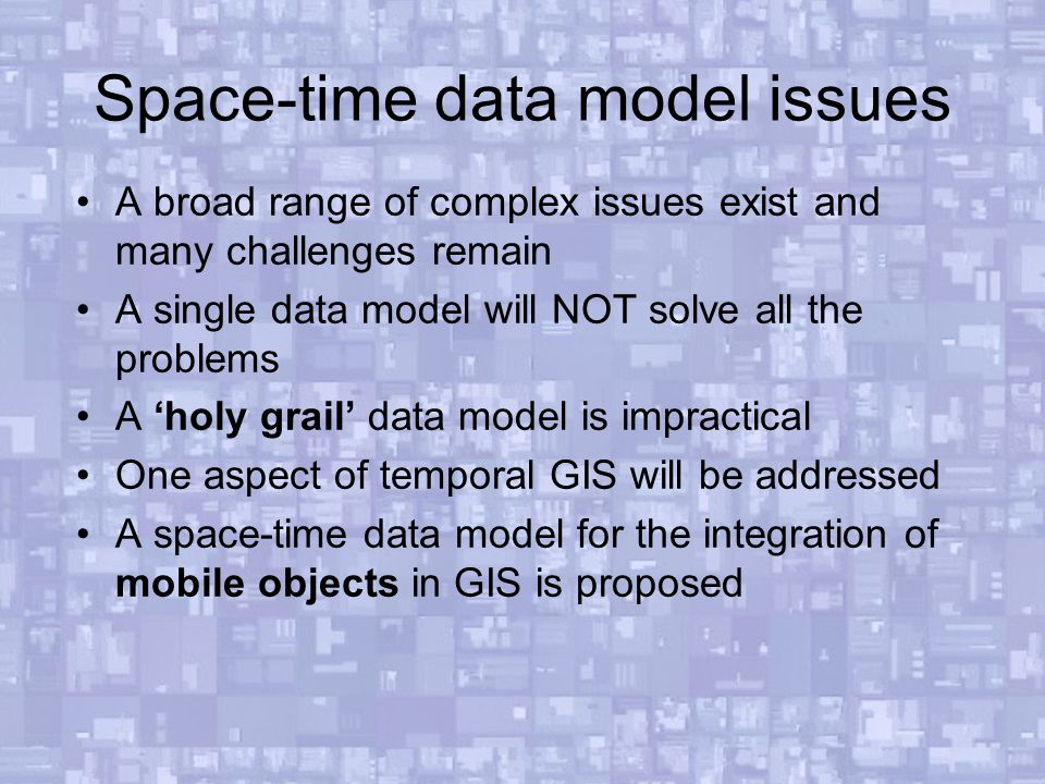 Developing space time data models and representations for for Space time theory