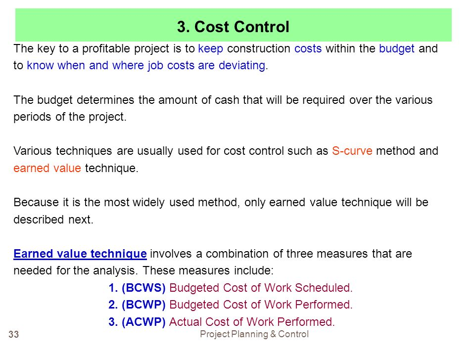 Cost control techniques in the construction industry
