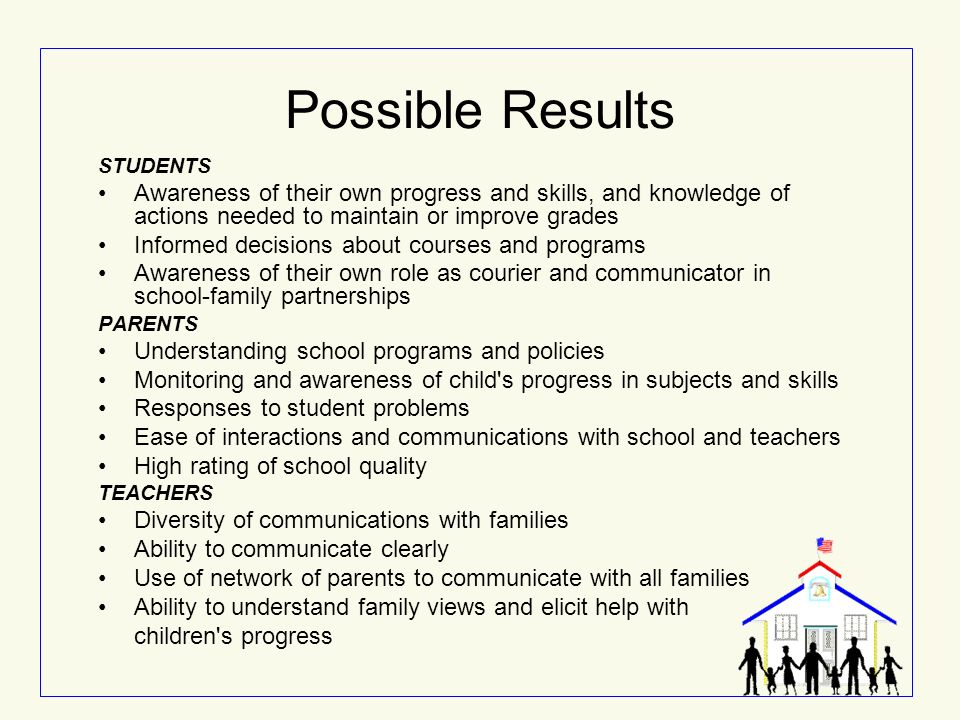 Possible Results STUDENTS. Awareness of their own progress and skills, and knowledge of actions needed to maintain or improve grades.