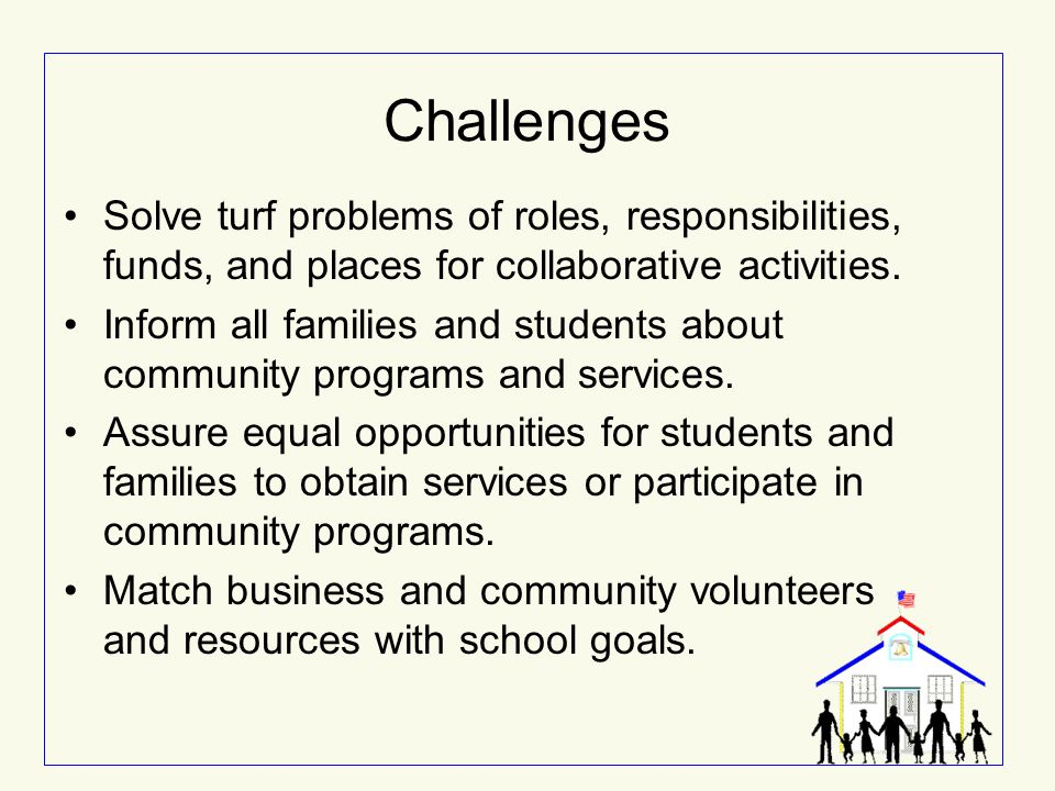 Challenges Solve turf problems of roles, responsibilities, funds, and places for collaborative activities.