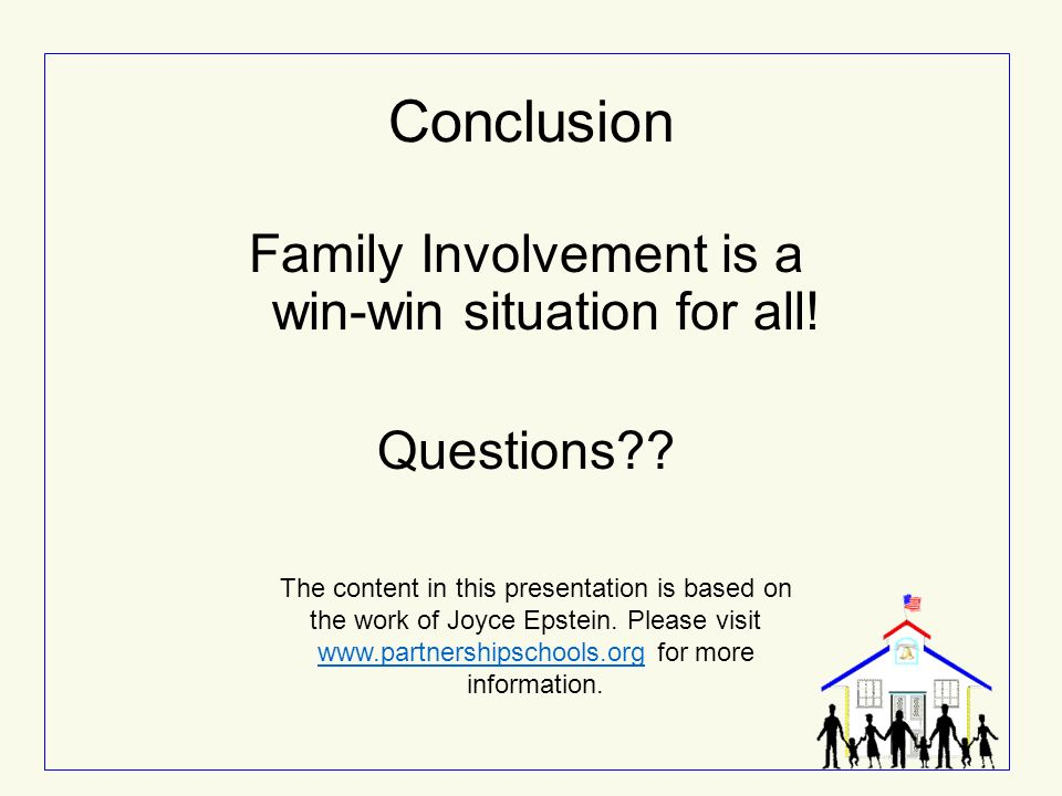 Family Involvement is a win-win situation for all!