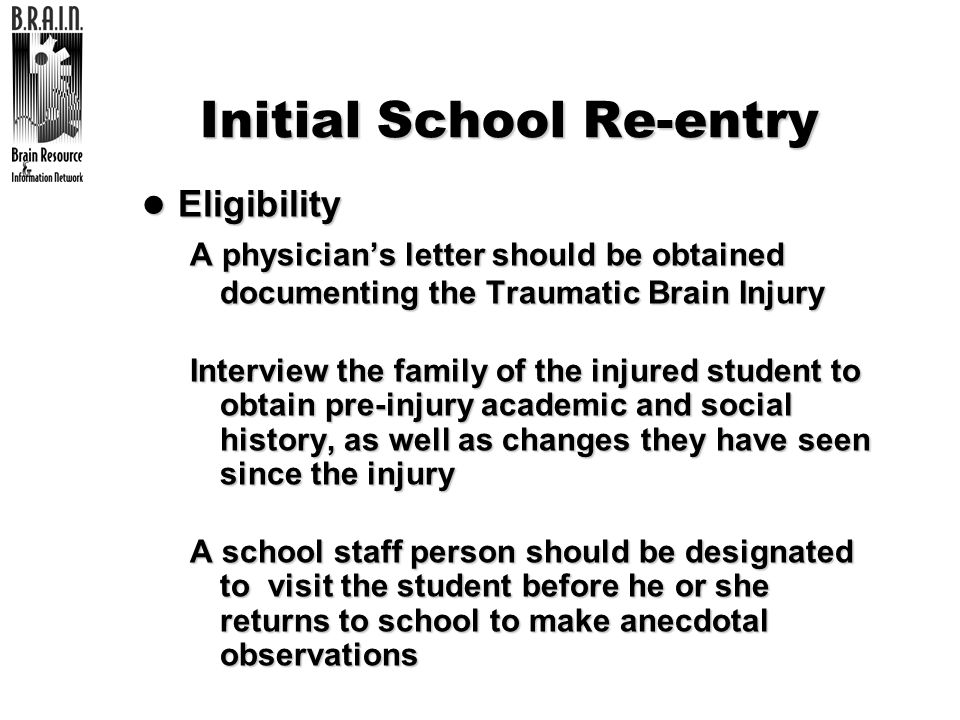 Initial School Re-entry