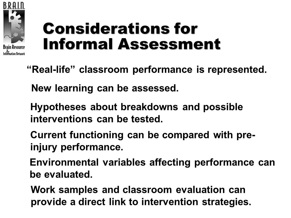 Considerations for Informal Assessment