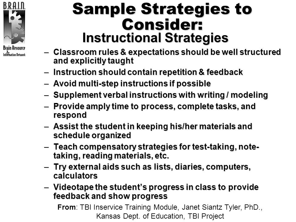 Sample Strategies to Consider: