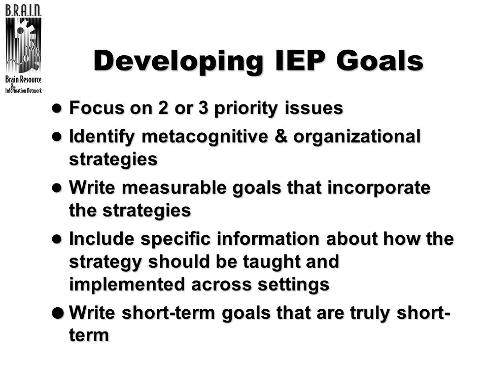 Developing IEP Goals Focus on 2 or 3 priority issues
