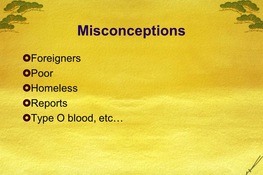 Misconceptions Foreigners Poor Homeless Reports Type O blood, etc…