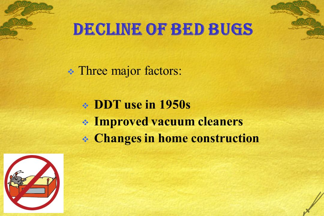 Decline of bed bugs Three major factors: DDT use in 1950s