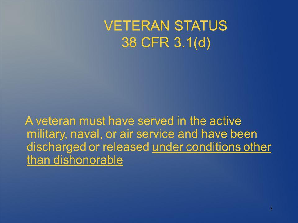 VETERAN STATUS 38 CFR 3.1(d)