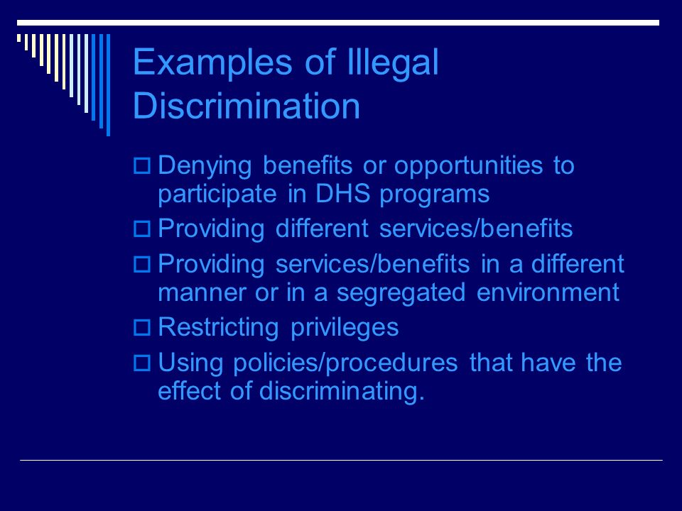 Examples of Illegal Discrimination