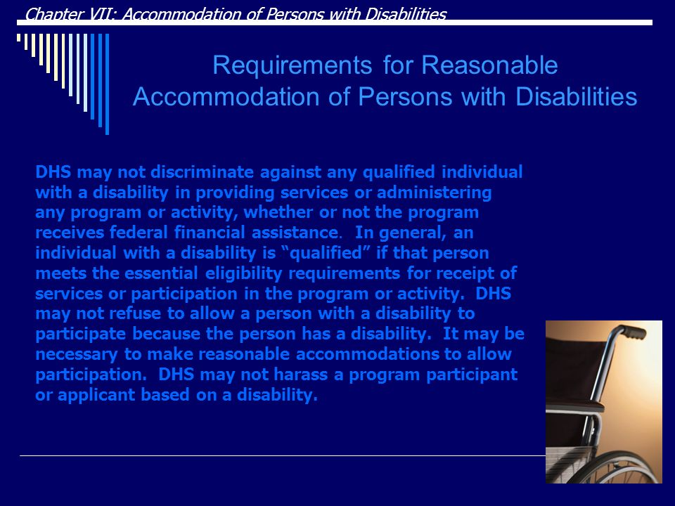Requirements for Reasonable Accommodation of Persons with Disabilities