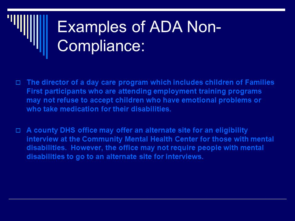 Examples of ADA Non-Compliance: