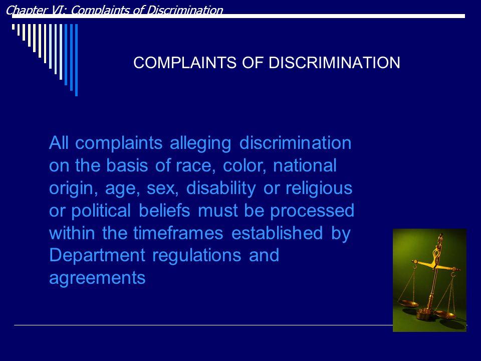 COMPLAINTS OF DISCRIMINATION