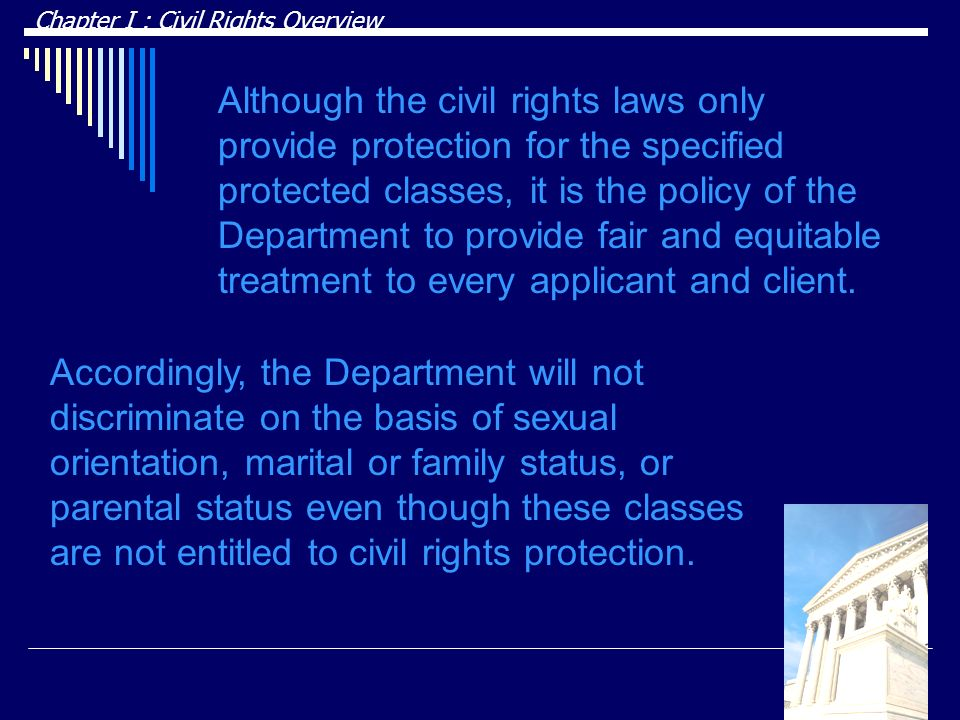 DRAFT Chapter I : Civil Rights Overview.