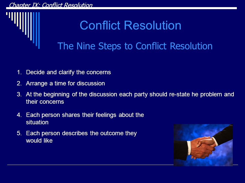 Conflict Resolution The Nine Steps to Conflict Resolution