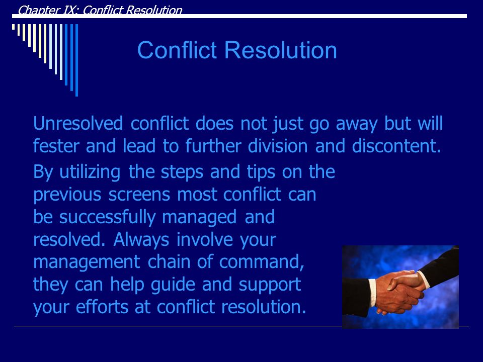 DRAFT Chapter IX: Conflict Resolution. Conflict Resolution.